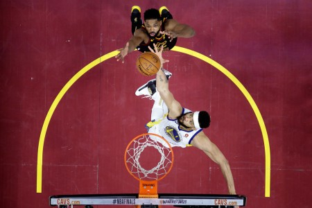 JaVale McGee attempts to get a rebound from Tristan Thompson in the NBA Finals (Getty Images)
