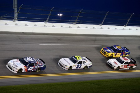 Kyle Larson leading the pack at the Coca-Cola Firecracker 250 (Getty Images)