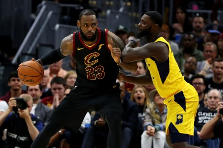 Lance Stephenson guarding LeBron James during their first-round series when the Cleveland Cavaliers defeated the Indiana Pacers (Getty Images)