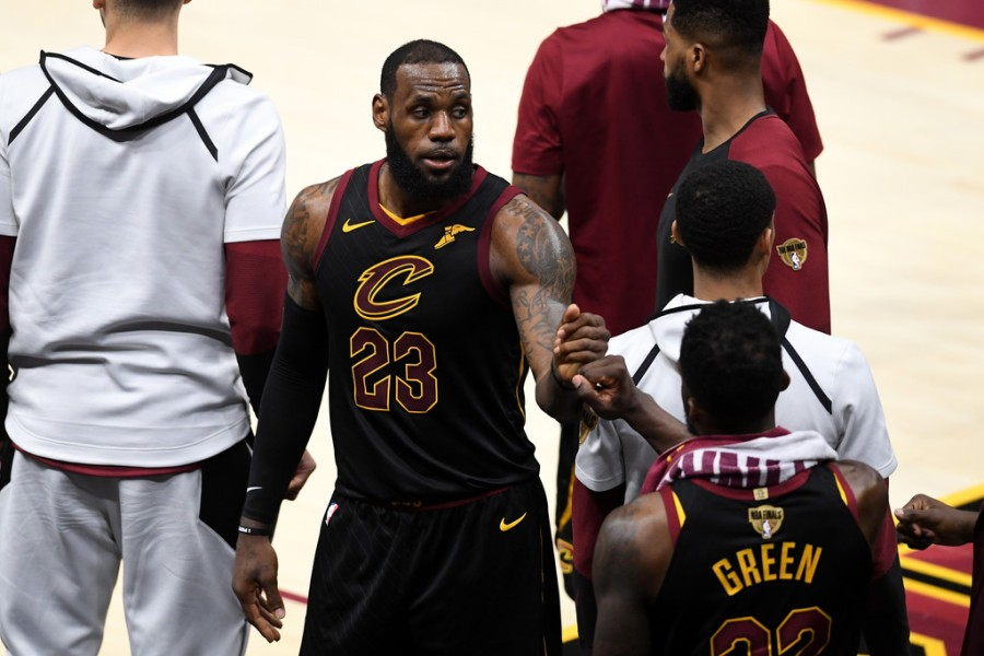 LeBron James givers a pound to Jeff Green (Getty Images)