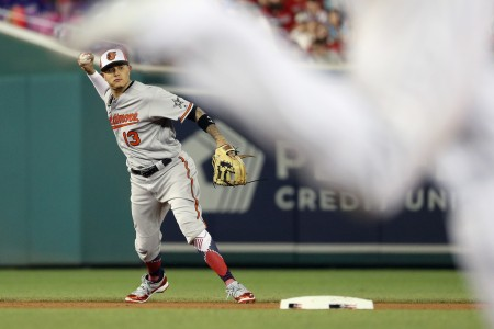 Manny Machado looks to throw out a base runner during the MLB All-Star Game at Nationals Park (Getty Images)