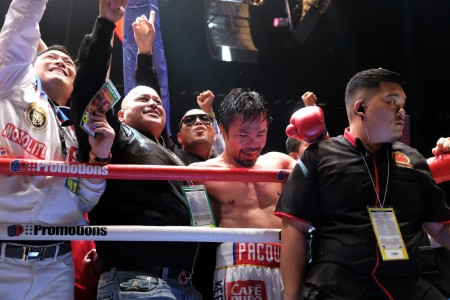 Manny Pacquiao celebrates his knockout win over Lucas Martin Matthysse (Getty Images)