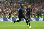 Paul Pogba celebrates his goal, the team's third goal, in the FIFA World Cup Final against Croatia (Getty Images)