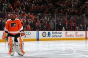 Ray Emery looks on during the national anthem as a member of the Philadelphia Flyers (Getty Images)