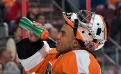 Ray Emery getting something to drink during a break in the action (Getty Images)