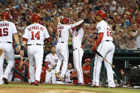 Trea Turner celebrates his first career grand slam with his teammates (Getty Images)