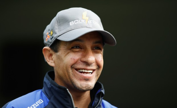 Jockey Victor Espinoza talks to the media during the morning training before the 2018 Kentucky Derby at Churchill Downs