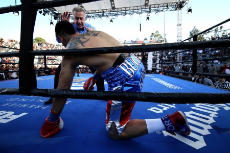Victor Ortiz is being counted by referee Jack Reiss after being knocked down to the mat by Andre Berto during the fourth round of their welterweight fight at the StubHub Center on April 30th, 2016 (Getty Images)
