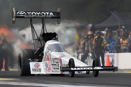 Matco Tools Top Fuel Dragster pilot Antron Brown rockets to the top of qualifying
