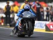 Elite Performance/Denso Pro Stock Motorcycle rider Matt Smith racing at Brainerd