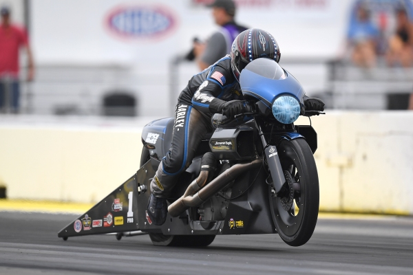 Screamin' Eagle Vance & Hines Harley Davidson Pro Stock Motorcycle rider Eddie Krawiec wins for the third-time in Minnesota