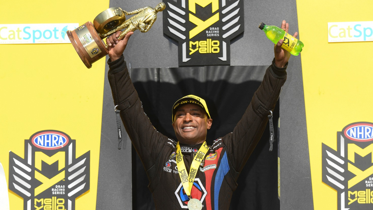 Matco Tools Top Fuel Dragster pilot Antron Brown celebrates his Top Fuel win over Leah Pritchett at the 31st annual CatSpot NHRA Northwest Nationals