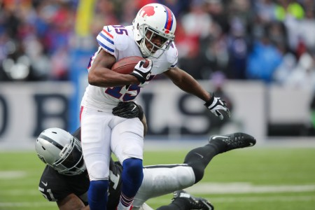 Buffalo Bills wide receiver and returner Brandon Tate runs with the ball against the Oakland Raiders