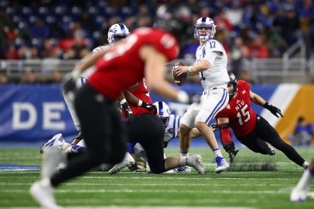Duke quarterback Daniel Jones attempting a pass in the Quick Lane Bowl