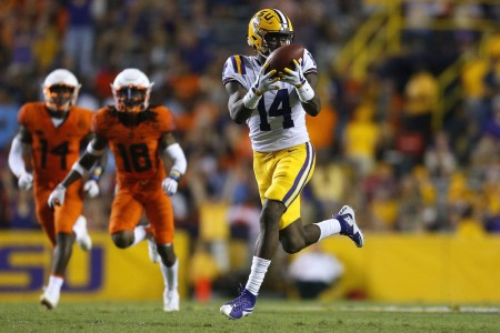 LSU Tigers wide receiver Drake Davis making a reception