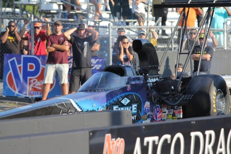 Top Alcohol Dragster driver Jackie Fricke racing at Atco Dragway