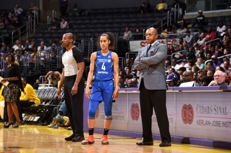 Dallas Wings head coach Fred Williams does not look happy during a game