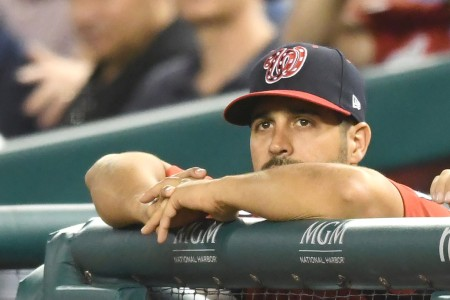 Washington Nationals starting pitcher Gio Gonzalez watches as his team plays the Milwaukee Brewers