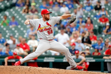 Greg Holland makes a relief appearance with the Cardinals