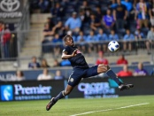 Cory Burke attempts to make a play for the Philadelphia Union