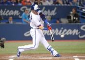 Toronto Blue Jays slugger Josh Donaldson makes contact with the ball against the Los Angeles Angels