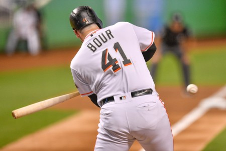 Justin Bour batting for the Miami Marlins against the St. Louis Cardinals