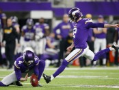 Minnesota Vikings kicker Kai Forbath looks to make a kick