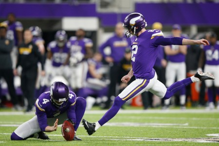 Minnesota Vikings kicker Kai Forbath looks to make a kick