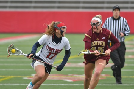 Kylie Ohlmiller looks to score against the Denver Pioneers