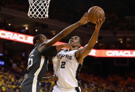 LaMarcus Aldridge has his shot blocked by Golden State Warriors forward Kevin Durant