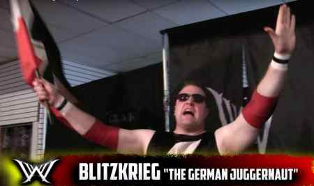 Kevin Bean protrays Blitzkreig, a wrestling character