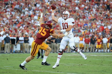 Porter Gustin attempts to make a play against Keller Chryst
