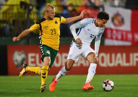 Vytautas Andriuškevičius playing defense against England in the World Cup Qualifier