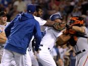 Yasiel Puig and Nick Hundley brawl