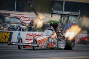 Top Fuel Dragster Pilot Clay Millican racing on Friday at Maple Grove Raceway