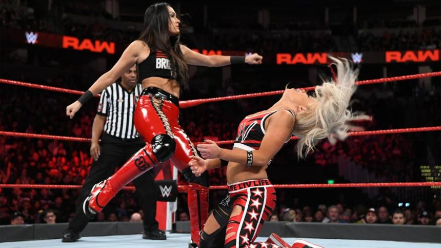 WWE Superstar Brie Bella gives Liv Morgan a concussion with head kicks