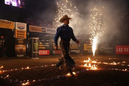PBR rider Sean Willingham walks out during introductions