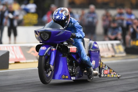 Pro Stock Motorcycle rider Matt Smith racing earlier this season