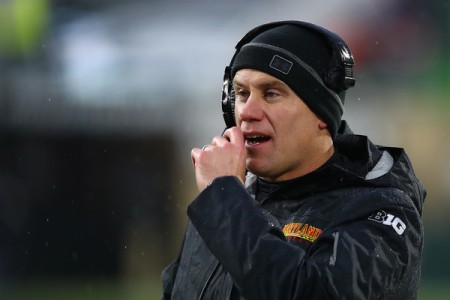 Maryland Terrapins Head Football Coach D.J. Durkin coaching against the Michigan State Spartans
