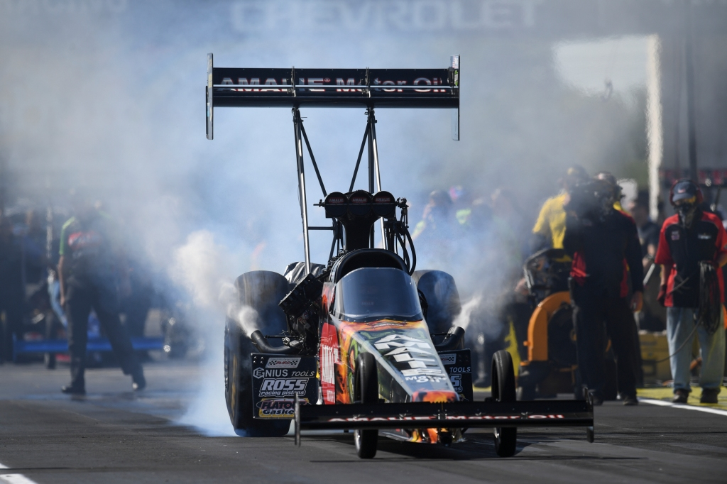 Amalie Motor Oil Top Fuel Dragster pilot Terry McMillen racing on Monday at the Chevrolet Performance U.S. Nationals