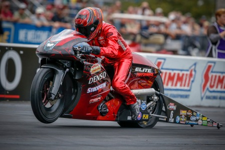 Pro Stock Motorcycle rider Matt Smith racing on Friday at Maple Grove Raceway