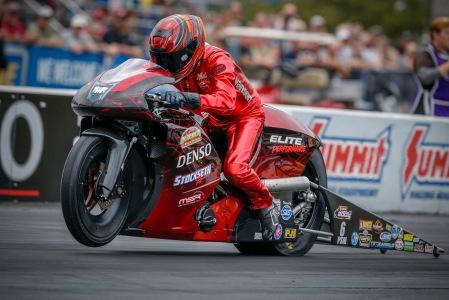Pro Stock Motorcycle rider Matt Smith racing on Friday at Maple Grove Raceway