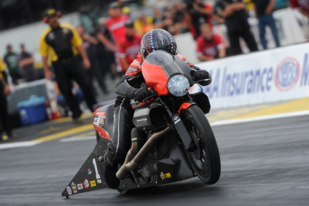 Pro Stock Motorcycle rider Eddie Krawiec is the provisional No. 1 qualifier on Friday at Gateway Motorsports Park near St. Louis