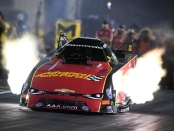 Advance Auto Parts Funny Car pilot Courtney Force leading provisional qualifying on Friday at Gateway Motorsports Park