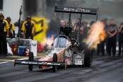 Top Fuel Dragster Pilot Clay Millican racing to the provisional No. 1 qualifier at the AAA Insurance NHRA Midwest Nationals