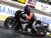 Pro Stock Motorcycle rider Chip Ellis racing on Saturday at the AAA Insurance NHRA Midwest Nationals
