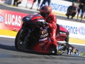 Pro Stock Motorcycle rider Matt Smith racing on Sunday at the AAA Insurance NHRA Midwest Nationals