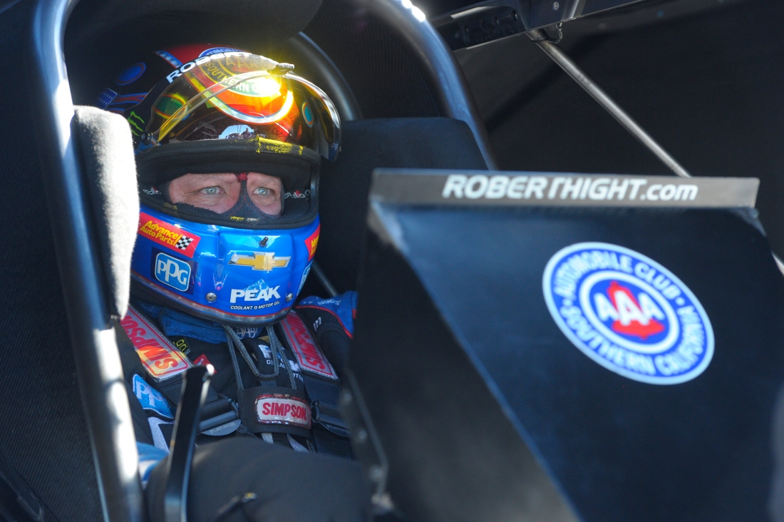 """AAA """"Don't Text and Drive"""" Funny Car pilot Robert Hight racing on Sunday at the AAA Insurance NHRA Midwest Nationals"""