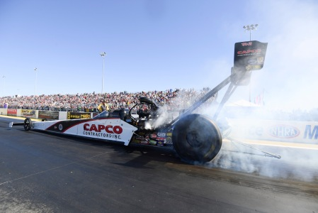 Capco Contractors Top Fuel Dragster pilot Steve Torrence racing on Sunday at the AAA Insurance NHRA Midwest Nationals