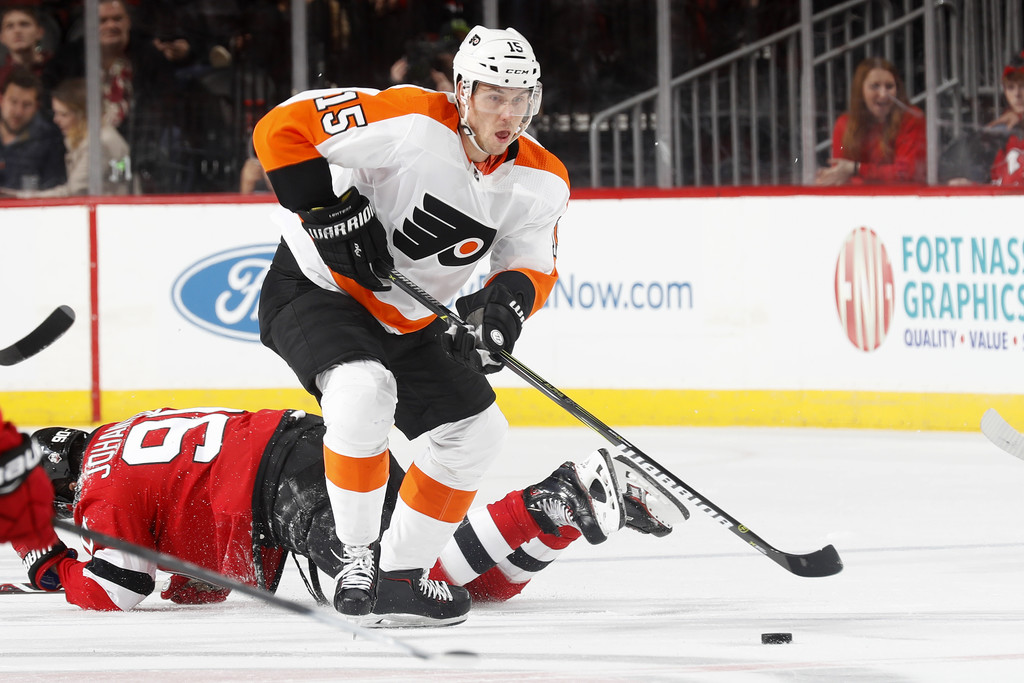 Philadelphia Flyers forward Jori Lehterä skates with the puck against the New Jersey Devils